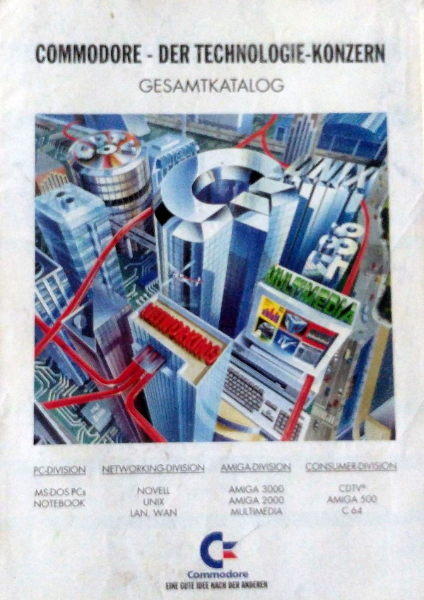 Na zdjęciu katalog Commodore z lat 90-tych